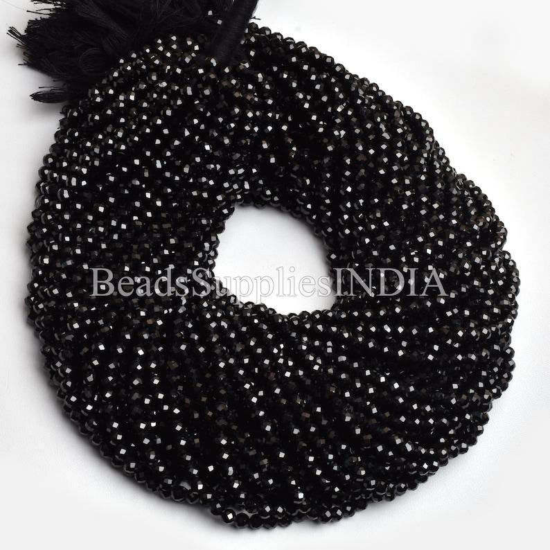 Natural Black Spinel Gemstone Round Shape Beads,Black Spinel  Beads Faceted Beads 4mm Beads Micro Cut Bead Round Beads