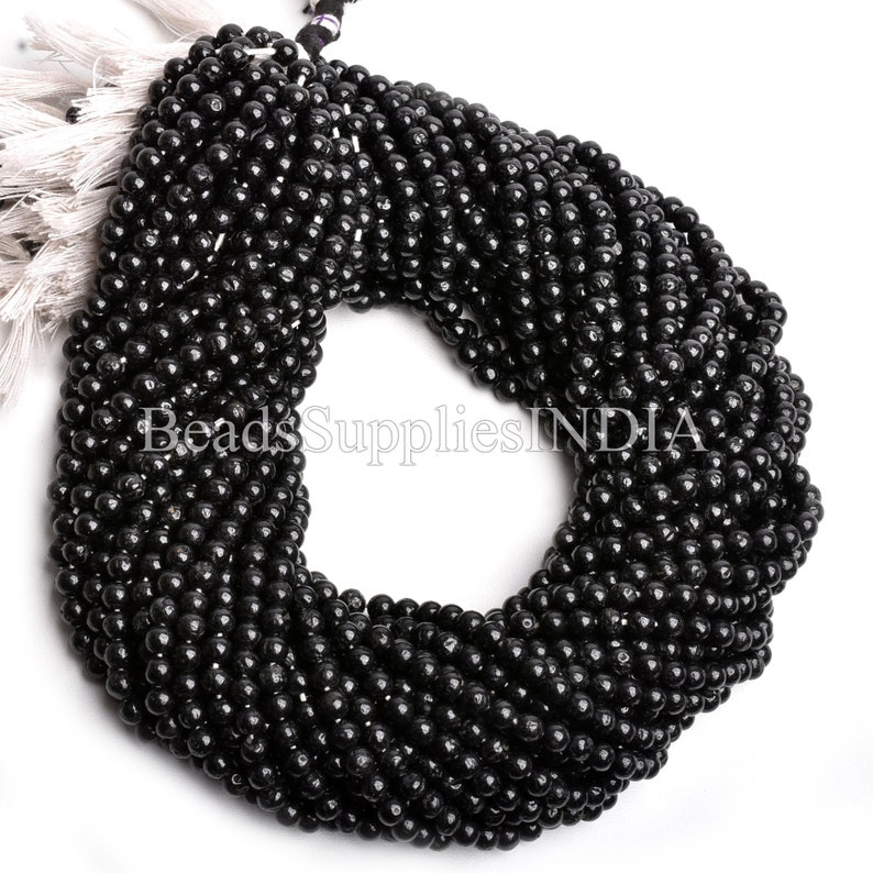 Plain Round Beads Black Spinel Gemstone Beads 13 Inches Strand Natural Black Spinel Smooth Round Beads Spinel Beads Strand