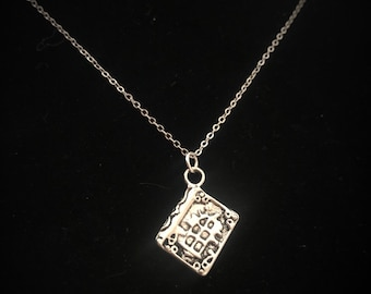 Book of Shadows Grimoire 3D Charm Sterling Silver Wiccan Jewelry  Sy027