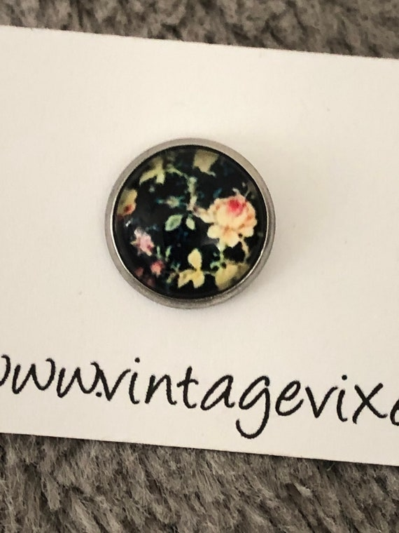 Ready To Ship gift Cottagecore Jewelry Gifts For Her Stainless Steel Roses 12mm Victorian Black Floral Stud Earrings Minimalist