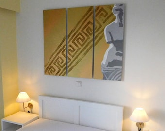 Set of 3 aluminium original Greek goddess Aphrodite minimal paintings,gold glitter art,greek ancient symbols,bedroom decoration,12greek gods