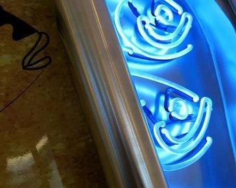 The big blue sardines,3d installation,neon lights,wood,aluminium