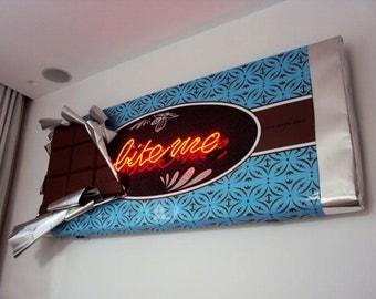 3d Chocolate original sculpture,extra large installation,neon art,handmade art,art deco,wall decoration,product design art,decorative 3d art