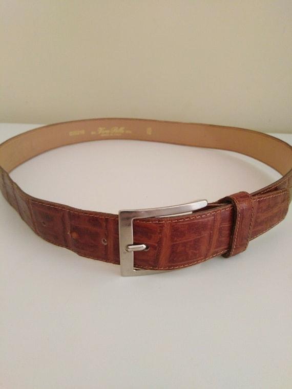 "Vera Pelle Real Italian Leather Men's Belt Tan 41"""
