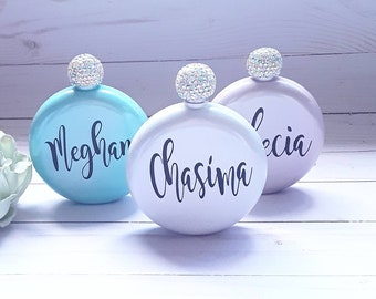 round glitter flask gf flask for women bachelorette party flask Personalized Brumate flask