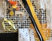 Vintage fabric slow stitch kit, meditation stitching, black and yellow