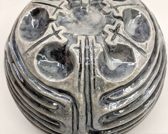 Ceramic Spherical Chartres Finger Labyrinth- Mother of Pearl Glaze, Medieval Cathedral Maze Game, Meditation Prayer Spiritual Art