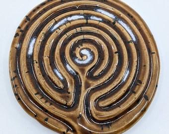 Ceramic Greek Finger Labyrinth -  Meditation Prayer Art, Stress PTSD ADD ADHD Anxiety Activity, Fidget Focus Tool, Mythology Maze Game