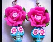 Dia de los Muertos Sugar Skull Rose Earrings
