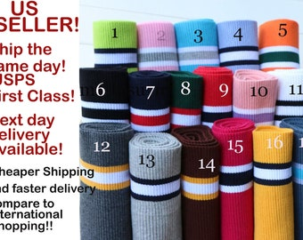 """22 COLORS Colors to choose from!High Quality Cotton Elastic Rib Knit Cuff,Waistband Trim. Length 74 - 84 cm (29"""" - 33""""), Width 15 cm (5.9"""")"""