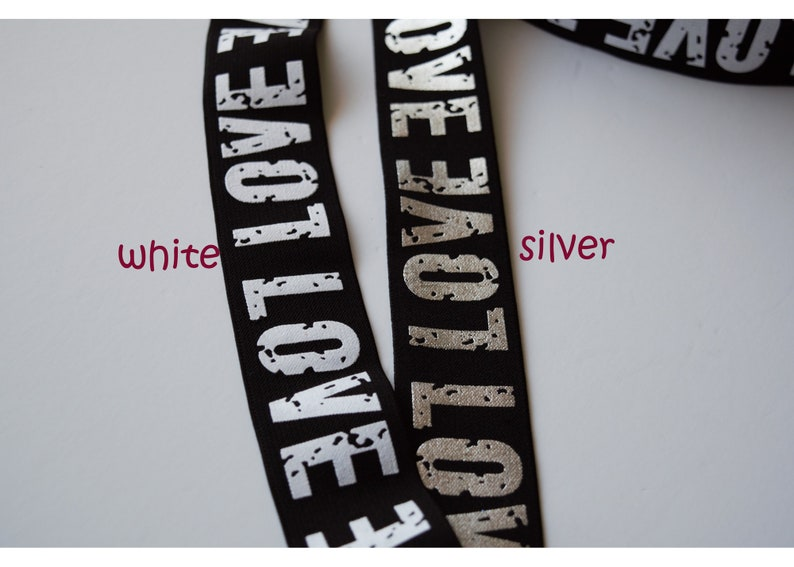 Waistband The price is for 1 yard 1.5 inch 38mm Wide  Gold SILVER and WHITE Love Letters Printed Black Plush Comfortable Elastic Band