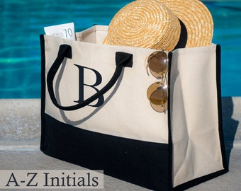 Beach Tote Bags for Women Personalize, Embroidery Initial Monogram Large Bag, 100% Cotton Canvas, Bridesmaid Bachelorette Gift A-Z