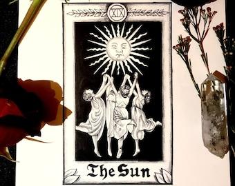 The Sun Tarot Print | Wiccan Art | Tarot Wall Art