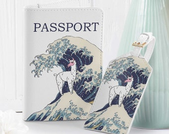 Surfing design passport Holder eco leather travel cover for document gift sea surf waves