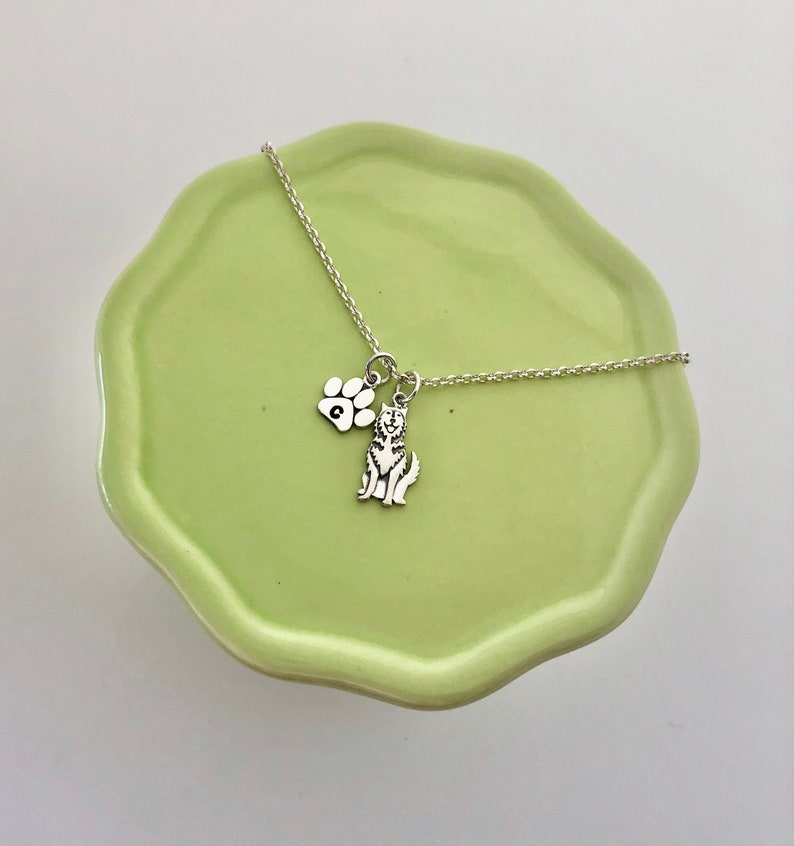 Husky Charm Necklace with Personalized Initial Paw Sterling Silver Dog Jewelry Dog Mom Gift Dog Necklace for Dog Lovers Gifts for Her