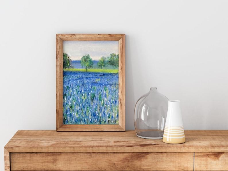5x7-8x10-11x14 Soft Pastel Painting FINE ART PRINT Gicl\u00e9e Texas Bluebonnets in Morning Light
