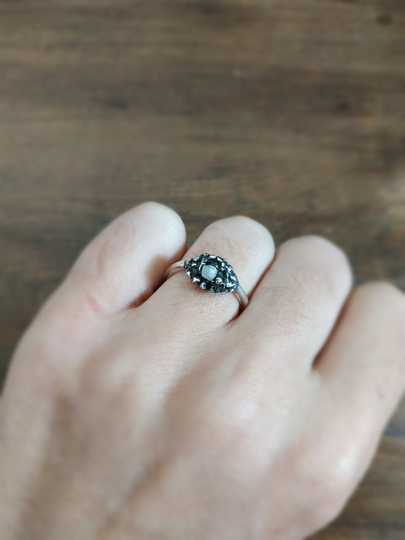 Earth ring silver ring with diamond rough diamond