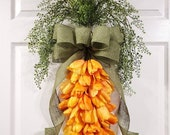 Carrot door hanger, Easter wreath, spring wreath, tulip wreath, carrot swag, vegetable decor, spring home, front door decoration