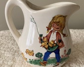 Vintage McCoy Happy Time Pottery Pitcher Girl Duck Chicks Cute Small USA Mark