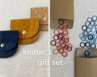 Knitters Gift Set - Stitch Markers + Notions Pouch Bundle