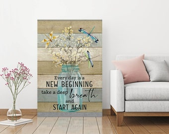 Hummingbird Every Day Is A New Beginning Take A Deep Breath Canvas .75in Framed
