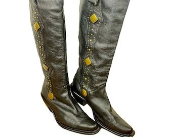 Vintage Le Chateau Womens Beaded Under Knee Black Urban Western Heeled Boots