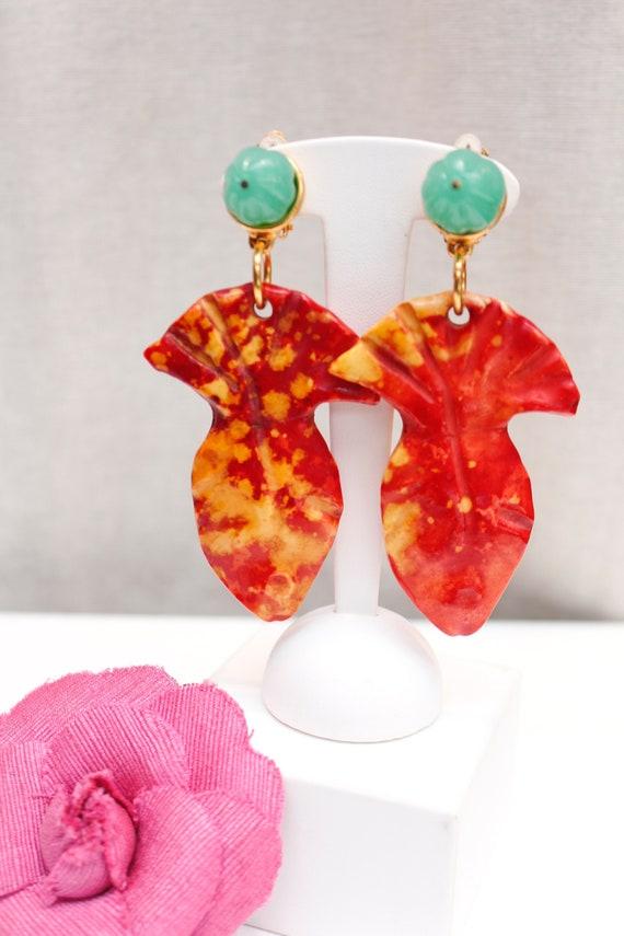 Vintage YSL orange fish clip-on earrings