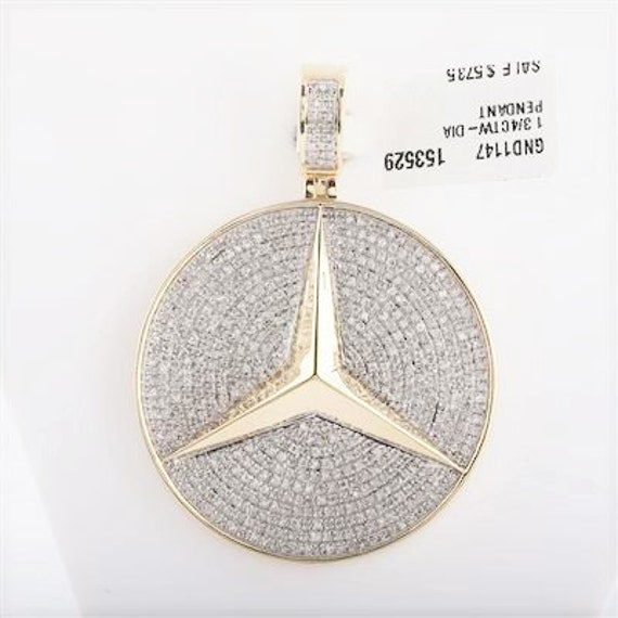 10k Yellow Gold Round Diamond Mercedes Benz Logo Charm Pendant 1.75 Ct