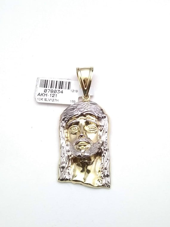 10k two-tone yellow and white gold Jesus pendant