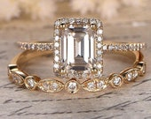 Emerald Cut Moissanite Engagement Wedding Ring Diamond Halo 14k Gold Half Eternity Thin Band Promise Women Anniversary Ring gift for her