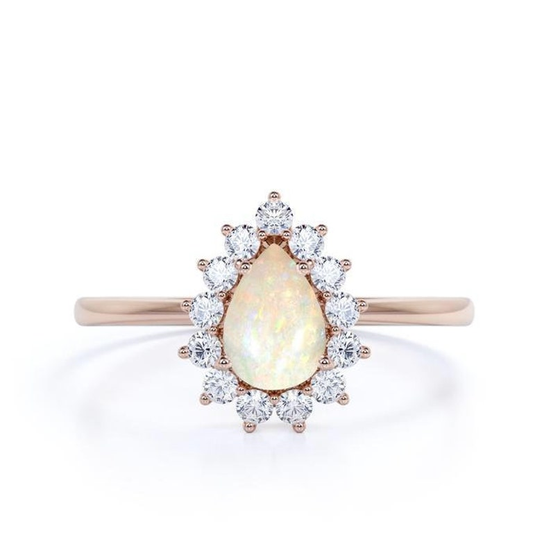 Elegant Vintage Pear Shaped Opal and CZ Diamond Halo Engagement Ring Wedding Engagement Ring  Bridal Anniversary Gift for Women Ring for her