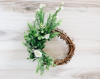 Romantic Green Mini Wreath with Tiny White Roses - Perfect Engagement or Birthday Gift!
