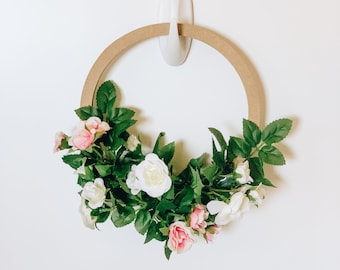 Mini Rose Bush Hoop Wreath with Free Shipping! Perfect for Mother's Day! Mini Floral Hoop with Artificial Roses