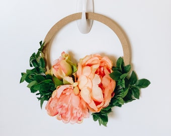 Summer Hoop Wreath - Mini Floral Hoop with Pink and Orange Artificial Peonies