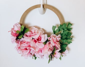 Pink Explosion Hoop Wreath with Free Shipping! Mini Floral Hoop with Pink Artificial Azaleas