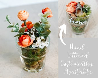 Orange Flower Desk Decoration with Customization Available! Small Ranunculus and Eucalyptus Arrangement in Glass Pot