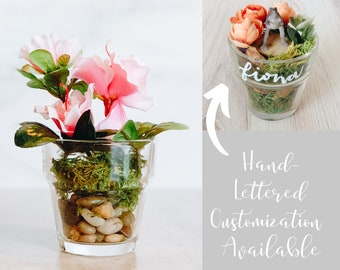 Pink Flower Desk Decoration with Customization Available! Small Azalea Arrangement in Glass Pot