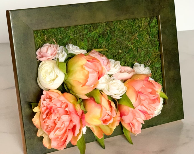 Featured listing image: 3D Flower Sculpture - Home Decor - Valentine's Day Gift for Her - Fake Roses & Peonies