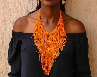 African Jewelry Dainty Necklace African Beaded Necklace African Layered Necklace ON SALE African Beaded Jewelry Mothers Gift