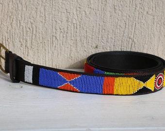 ON sale Leather belt men belt maasai beaded belt Kenya | Etsy