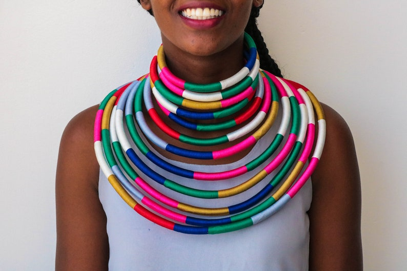Tribal necklace Moms gift Christmas gift for her Rope necklace Elegant necklace Set of SALE African choker necklace,Statement necklace