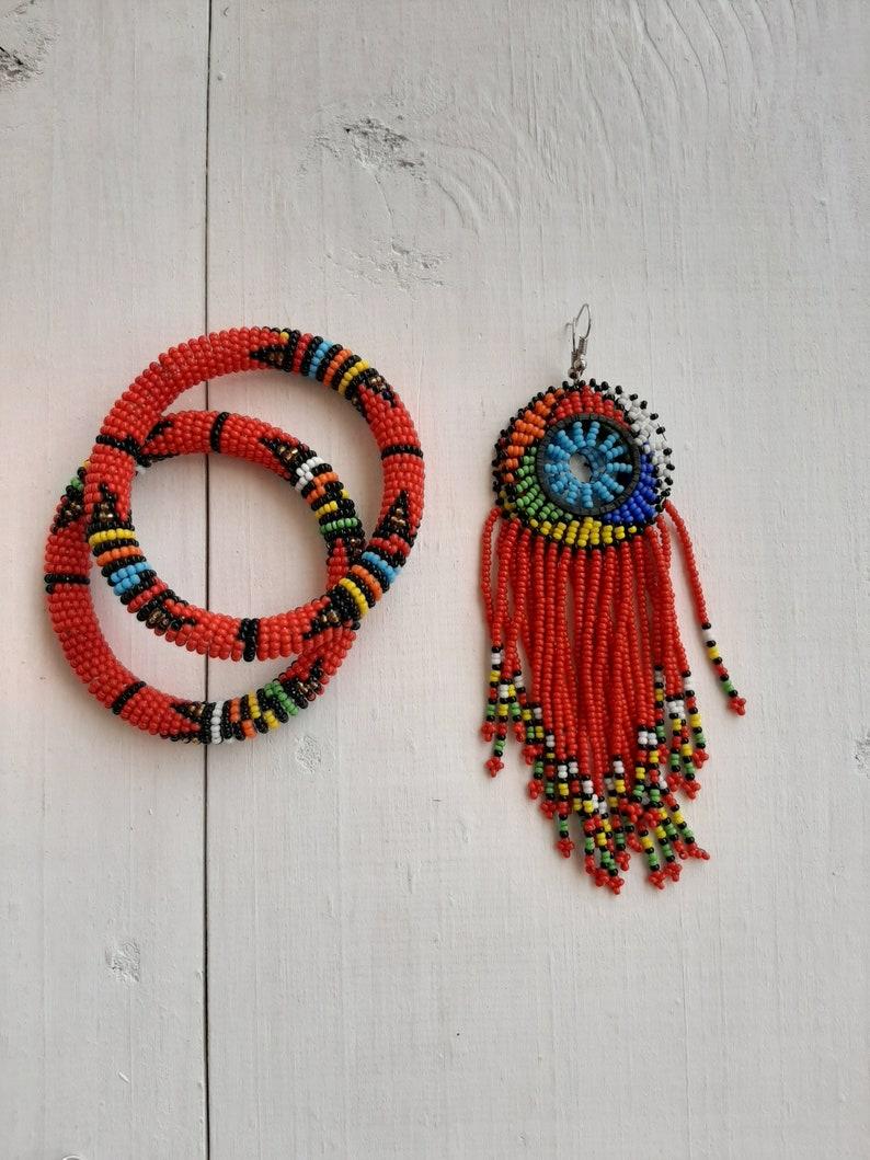 Beaded jewelry set Fringe earrings Beaded bracelets SALE African beaded jewelry Moms gift Christmas gift for her Women jewelry