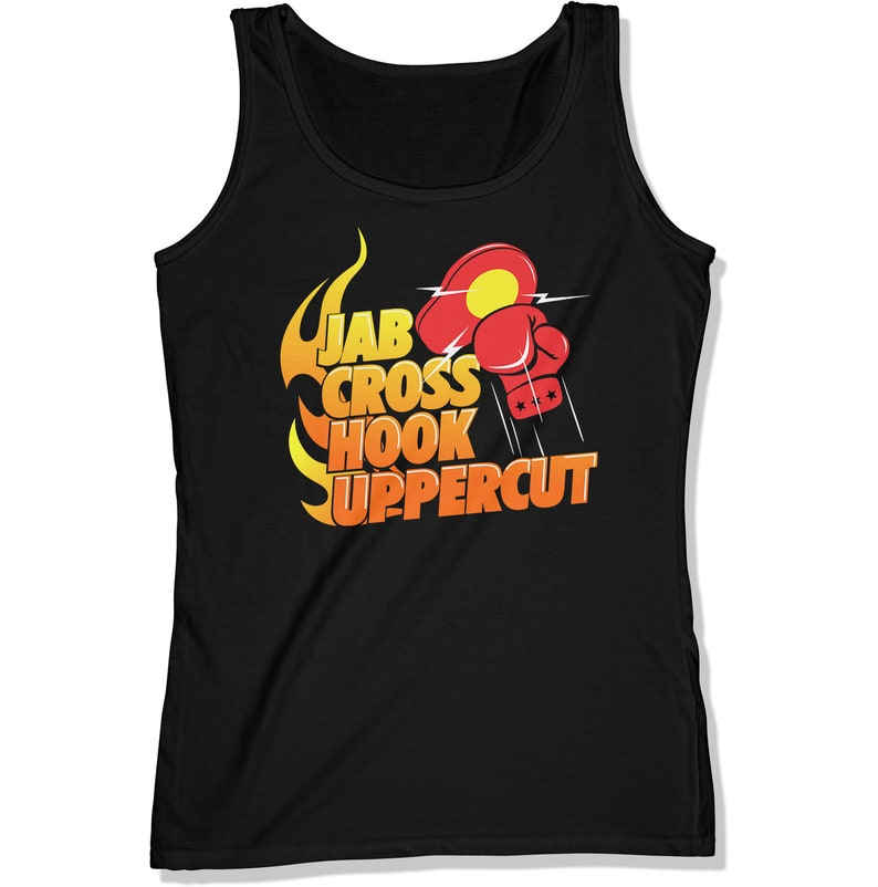 Jab Cross Hook Uppercut Boxing Tank TopWomen's Boxing Black
