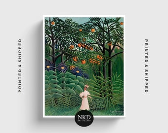 Woman Walking In An Exotic Forest | Henri Rousseau | Tropical Forest Print, Home And Decor, Wall Art Poster, Fine Art, Giclee Print