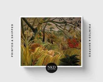 Tiger In A Tropical Storm | Henri Rousseau | Jungle Decor, Rainforest Art, Botanical Home Decor, Exotic Print, Poster, Vintage Wall Art