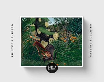 Fight Between A Tiger And Buffalo | Henri Rousseau | Jungle Painting, Primitave Decor, Rainforest Nursery Print, Tropical Poster Canvas