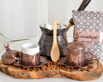 Blue KUIDAMOS Vintage Turkish Coffee Pot Set,Vintage Turkish Coffee Pot with 6 Coffee Cups,Turkish Copper Coffee Cup Set,Including Craft Tea Tray Teapot and Tea Cups