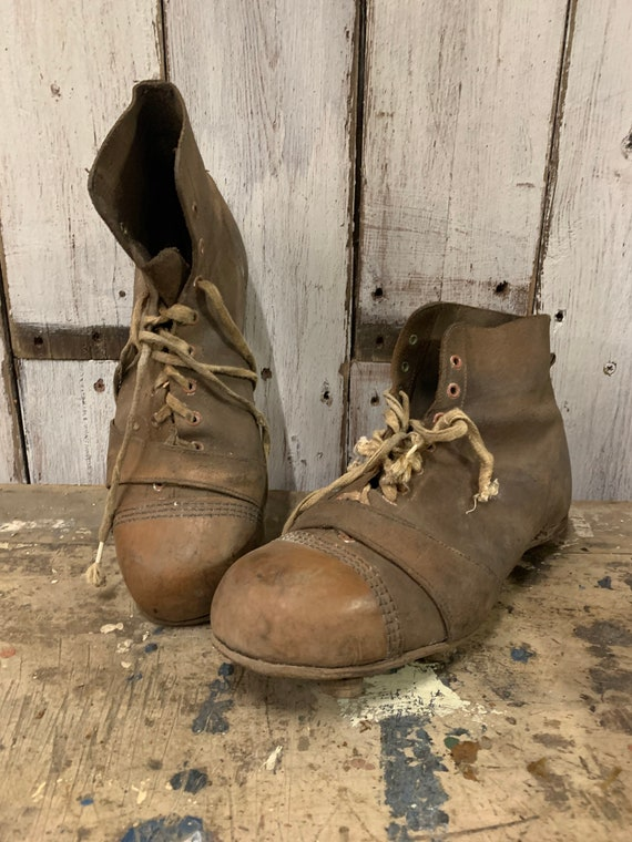 Antique 1920s Soccer Football Rugby Cleats Boots