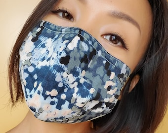 Abstract Art Face Mask with Nose Wire & Filter Pocket, Pointillism Sea Watercolor Painting Contemporary Aesthetic Artistic Cotton Face Mask