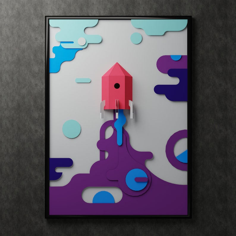cut paper Rocket DIY 3d illustration 3D puzzle cardboard papercraft model template PDF pattern kit